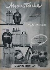 PUBLICITE PARFUM MARCEL ROCHAS MOUSTACHE EAU COLOGNE 1958 FRENCH PERFUME AD