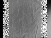 1 lfM. Spitzenband Tüllspitze Häkelborte breite Bordüre Bogenkannte 32cm Weiß