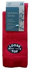 3 Pairs Sz 6-11 Australian Made Ladies Red Bamboo Loose Top Dress Socks