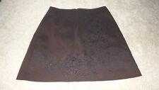 XOXO DARK BROWN BLACK VELVET FLOWERS Design Lined MINI Length Skirt Sz 3 STRETCH