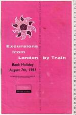 1961 Bank Holiday Excursions from London Pamphlet - Crystal Palace Epsom Downs