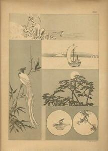 Stampa antica GIAPPONE JAPAN PAESAGGI UCCELLI Samuel Bing 1885 Antique print
