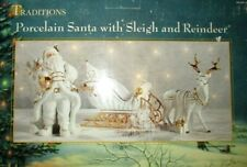 Traditions Porcelain Santa With Sleigh And Reindeer Nib Free Shipping !