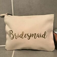Bridesmaid Make Up Bag Pouch -Wedding Gift Thank You Favour - Cream Gold Vintage