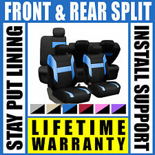 Blue & Black Complete Full Car Seat Covers Set - OEM Split Fold Truck SUV G41