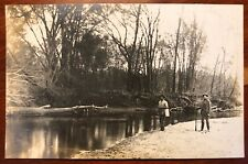 Two Men on a Creek Bed Iowa (?) Rppc Badger