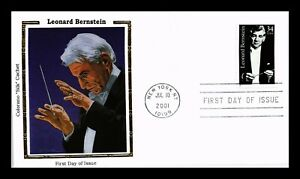 DR JIM STAMPS US LEONARD BERNSTEIN UNSEALED FDC COVER COLORANO SILK