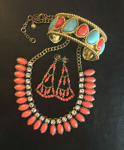 J CREW NECKLACE CORAL Lucite Rhinestone + Lily Pulitzer Bracelet Earrings #1290