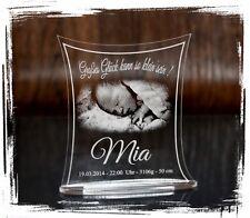 1 Aufsteller Acrylglas inkl. Gravur (Foto + Text) - Individuell Taufe Geburt uvm