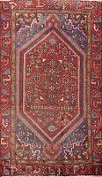 Vintage Geometric Traditional Hamedan Area Rug Hand-Knotted Wool Oriental 4x6 ft