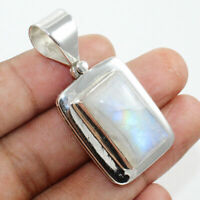 Solid 925 Sterling Silver Rainbow Moonstone Gemstone Pendant Necklace Jewelry