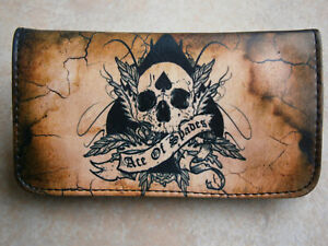 ACE OF SPADES ROLLING TOBACCO POUCH CASE WALLET PURSE SKULL CARDS POKER TATTOO