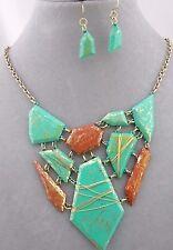 Geometric Necklace Set Green Rust Gold Fashion Jewelry NEW
