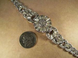 Neat Vtg Ladies Nastrix Manual Wristwatch, 17j Silver Tone w/ Pastes, Runs