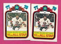 2 X 1978-79 OPC # 327 ISLANDERS CLARK GILLIES ALL STAR CARD (INV# C3877)