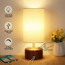 USB Table Lamp, Boncoo Bedside Touch Control Lamp with 2 USB Charging Ports, Dim