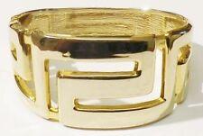 Beau Bijou Vintage bracelet rétro rigide large couleur or poli * 4466