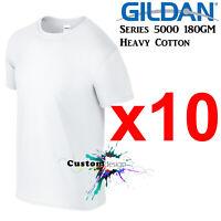 10 Packs Gildan White T-SHIRT Basic Tee S - 5XL Men Heavy Cotton