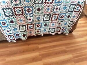 Vintage Handmade Granny Square Afghan Crochet Blanket White/Red/Blue/ Pink/Gray