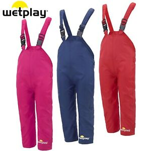WETPLAY KIDS WATERPROOF DUNGAREES RAIN OVER TROUSERS BOYS GIRLS CHILDS CHILDRENS