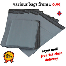 STRONG GREY MAILING POST BAGS POSTAGE POLY MAIL SELF SEAL POSTAL BAG - ALL SIZES