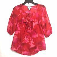 Ann Taylor LOFT Womens Petite Red Pink Floral 3/4 Sleeve Blouse Size Medium M