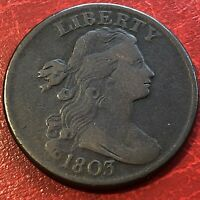 1803 Draped Bust Large Cent High Grade  VF Details Rare #13637
