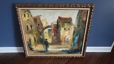 Signed Spanish Style Landscape Colorful Painting 24 x 20 inches