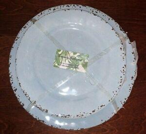 TOMMY BAHAMA 8pc Melamine DINNER & SALAD PLATES Light Blue EASTER Rustic NWT