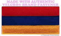 ARMENIAN FLAG PATCH ARMENIA embroidered new SOUVENIR w/ VELCRO® Brand Fastener