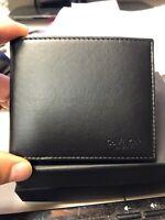 Calvin Klein Collection Bifold Billfold Calfskin Double Card Wallet Made Italy
