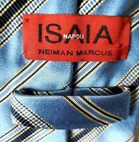 Isaia Napoli Italian Blue Navy Stripe Silk Tie 7 Fold Made in Italy $225 59x3.5