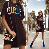 Woman T-Shirt dress Girls letter Printed Short Sleeve T-shirt Loose dress S-XL