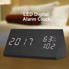Wooden Alarm Clock LED Digital Time/Temperature/Humidity Display Voice Control