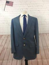 Eagle Clothes Solid Blue Men's Two Button Blazer 46R $349