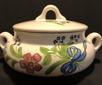 Vintage N S Gustin Co Hand Painted Soup Tureen/Covered Bowl, Made In USA, Floral