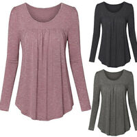Womens Loose Baggy Tops Casual Blouse Long Sleeve Boat Neck Long Tunic T-Shirt P