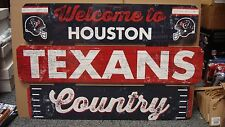 """HOUSTON TEXANS WELCOME TO TEXANS COUNTRY WOOD SIGN 19""""X30'' NEW WINCRAFT"""