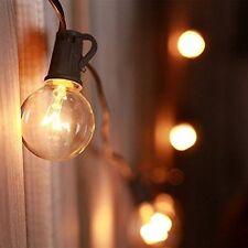 25ft Weatherproof Globe String Festoon Lights with 25 Clear Bulbs G40, Indoor/