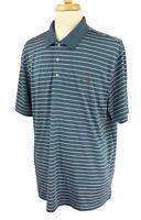 Greg Norman Tasso Elba Men's Five Iron Play Dry Golf Polo Blue Stripe Shirt XL