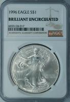 1996 American Silver Eagle Dollar $1 / NGC Brilliant Uncirculated / Key Date x