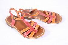 15D Kickers Damen Riemchen Sandaletten Sandalen Leder rot orange  Gr. 37 flach