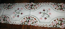 Lacy Rose Embroidered Spring Decor Table Runner Dresser Scarf Topper Doily 68x13