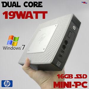 Dual Core Mini Thin PC Computer HP 16GB SSD 4GB DDR3 Dual Head Windows 7 Pro Hom