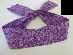 "Japanese 37""L Headband Hachimaki UZUMAKI Swirl Pattern Cotton/ Purple"