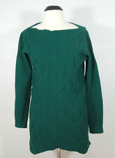 ANN TAYLOR LOFT Green Cotton Boat Neck size L Knit Sweater