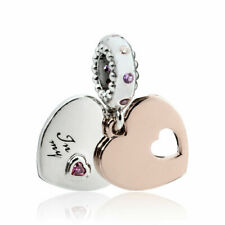 Real 925 Silver Rose gold Part Of My Heart Love Dangle CZ Pendant Charm+gift box