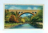 Philadelphia PA Henry Avenue Bridge Over Wissahickon Creek Linen Postcard