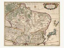 Old Antique China Japan Mongolia decorative map de Wit ca. 1682