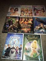 🔥LOT OF 8 DISNEY DVD'S Frozen Tinker bell Atlantis Princess Diaries Stories &🎞